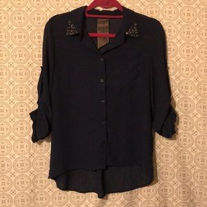 Moon Collection Anthropologie Rockstud top navy